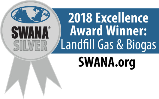 2018 SWANA Excellence Award for Landfill Gas and Biogas.